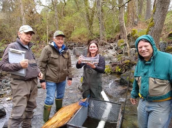 ODFW biologist Bridget Worthington with expert fry trap volunteers Kirk Kowalke, Harry Foster and Greg Carratt.