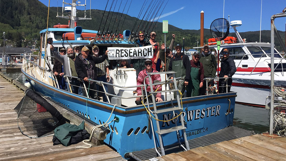 Volunteer anglers aboard the fishing vessel Norwester