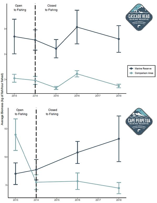Graph: average biomass at Cascade Head vs Cape Perpetua from 2013-2018