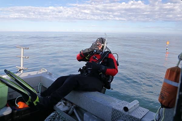 SCUBA diver plunge