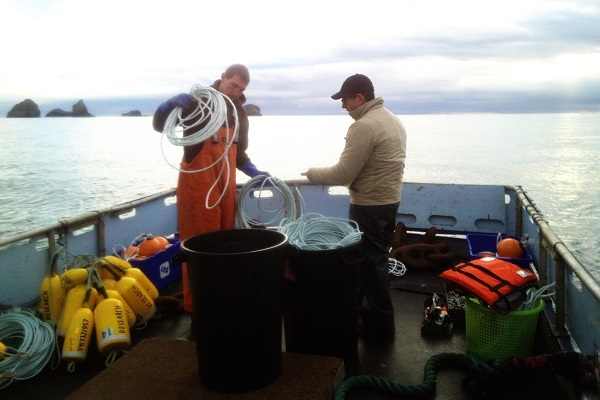 Tom Calvanese and commercial fishermen prepare telemetry gear on back deck of boat