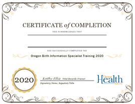 BIS training certificate