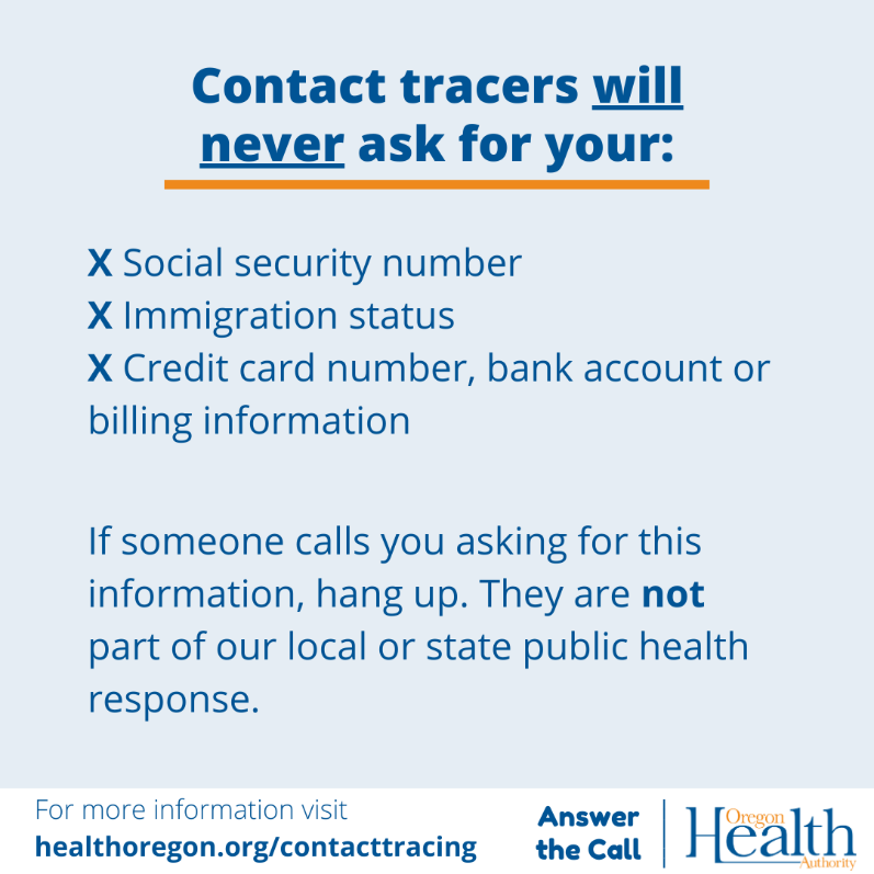 Contact tracers will never ask for your