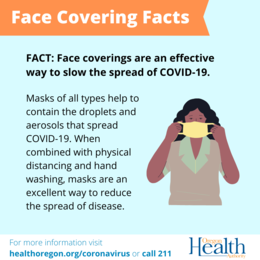 Face Covering Facts - Face coverings are an effective way to reduce the spread of COVID-19.