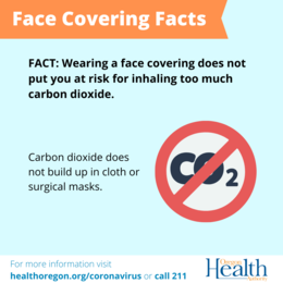 Face Covering Facts - Carbon dioxide does not build up in face coverings or masks.