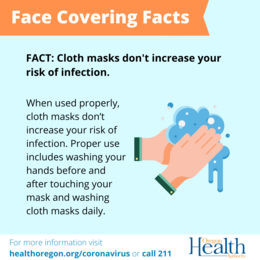 Face Covering Facts - Face coverings do not increase your risk of infection.