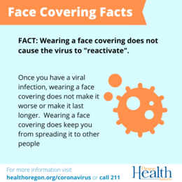 "Face Covering Facts - Face coverings do not ""reactivate"" the virus."
