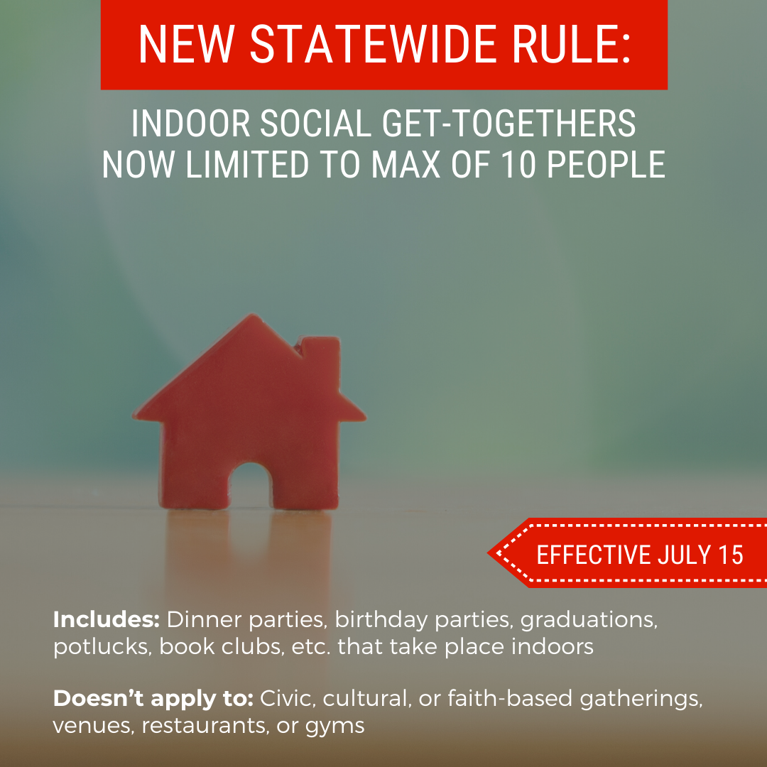 New rules social gatherings July 13 2020