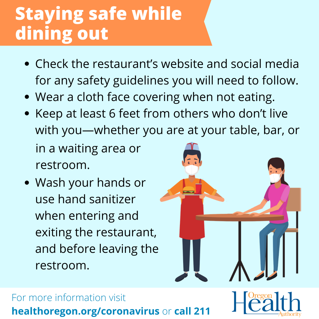 Check the restaurant's website and social media for any safety guidelines. Wear a cloth face covering when not eating.
