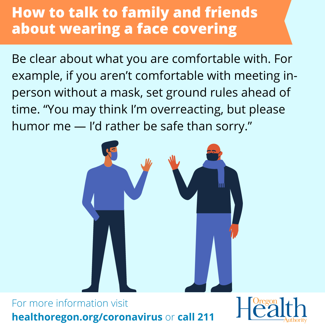 How to talk to friends and family about face coverings. Be clear about what you are comfortable with.