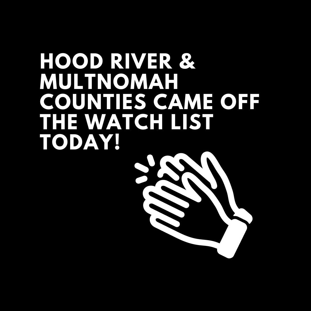 Hood River and Multnomah counties came off the watch list today