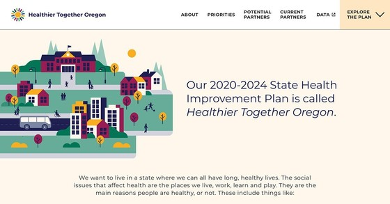 "Screenshot of Healthier Together Oregon with the text ""Our 2020-2024 State Health Improvement Plan is called Healthier Together Oregon."