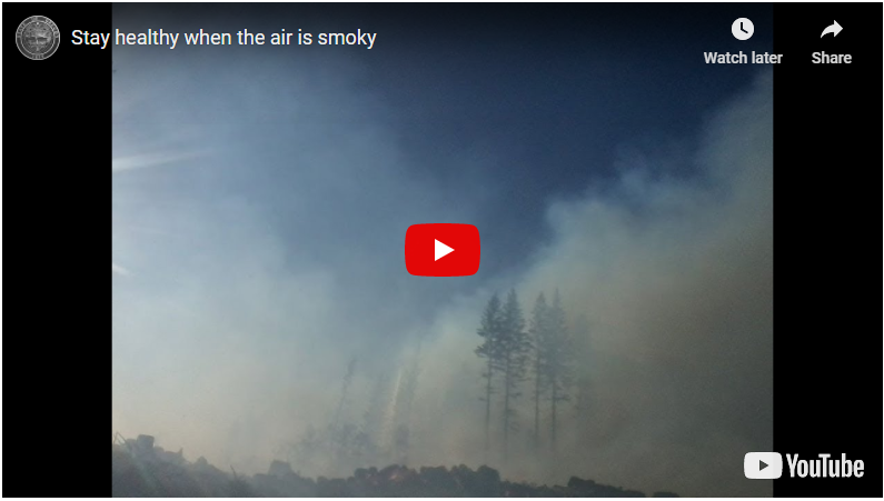 "Thumbnail image for Public Health Division's YouTube video, ""Stay healthy when the air is smoky"""