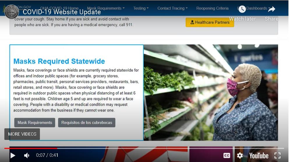 COVID-19 Website Update