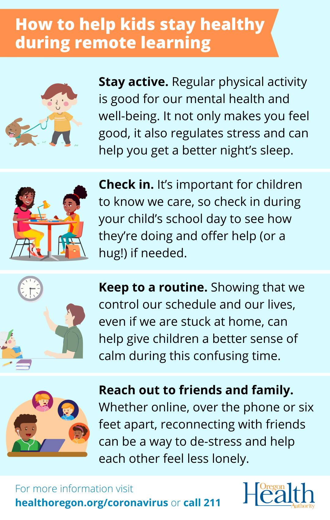 Check in during the school day to see offer help (or a hug) if needed.
