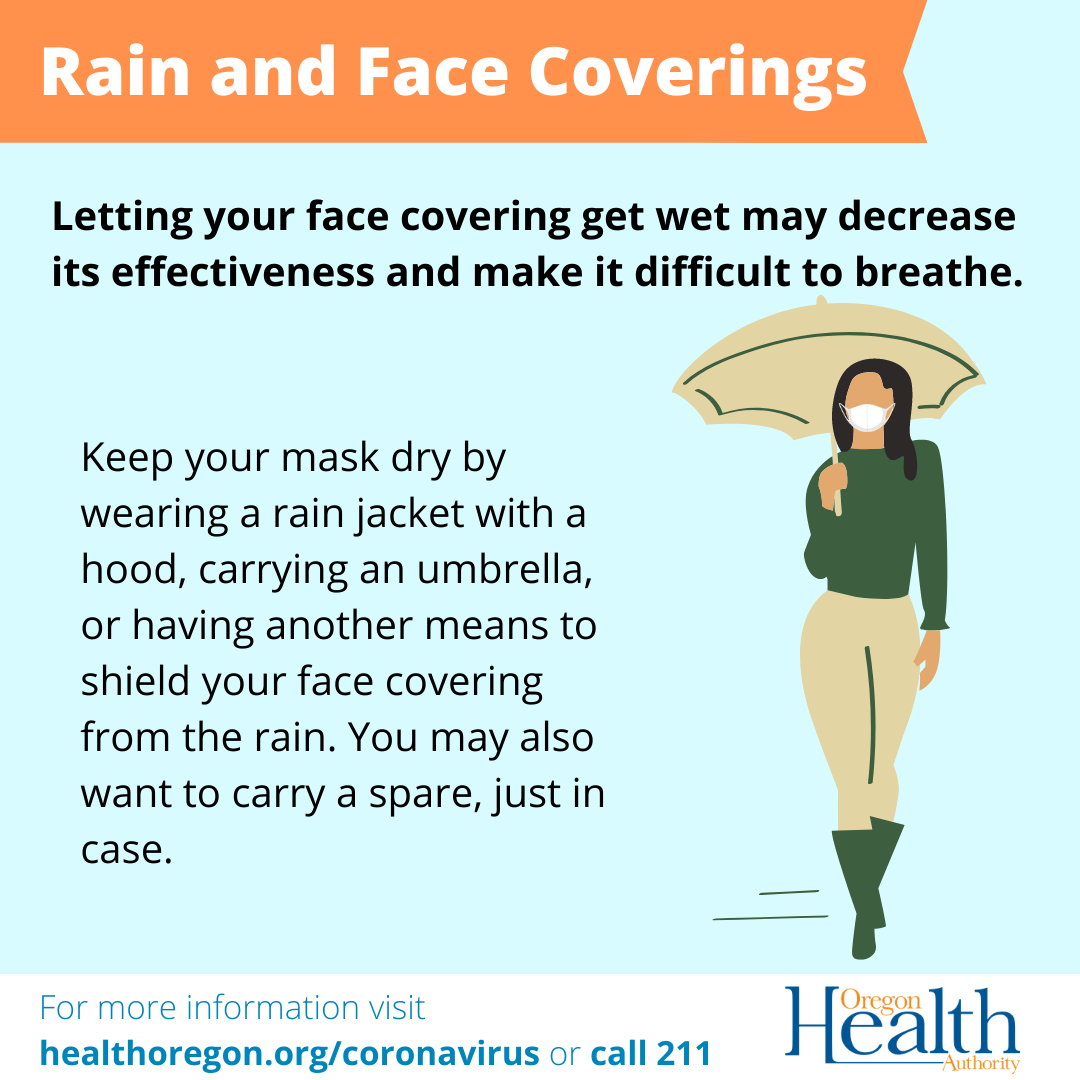 You can keep your mask dry by wearing a rain jacket with a hood, carrying an umbrella, or having another means to shield your face