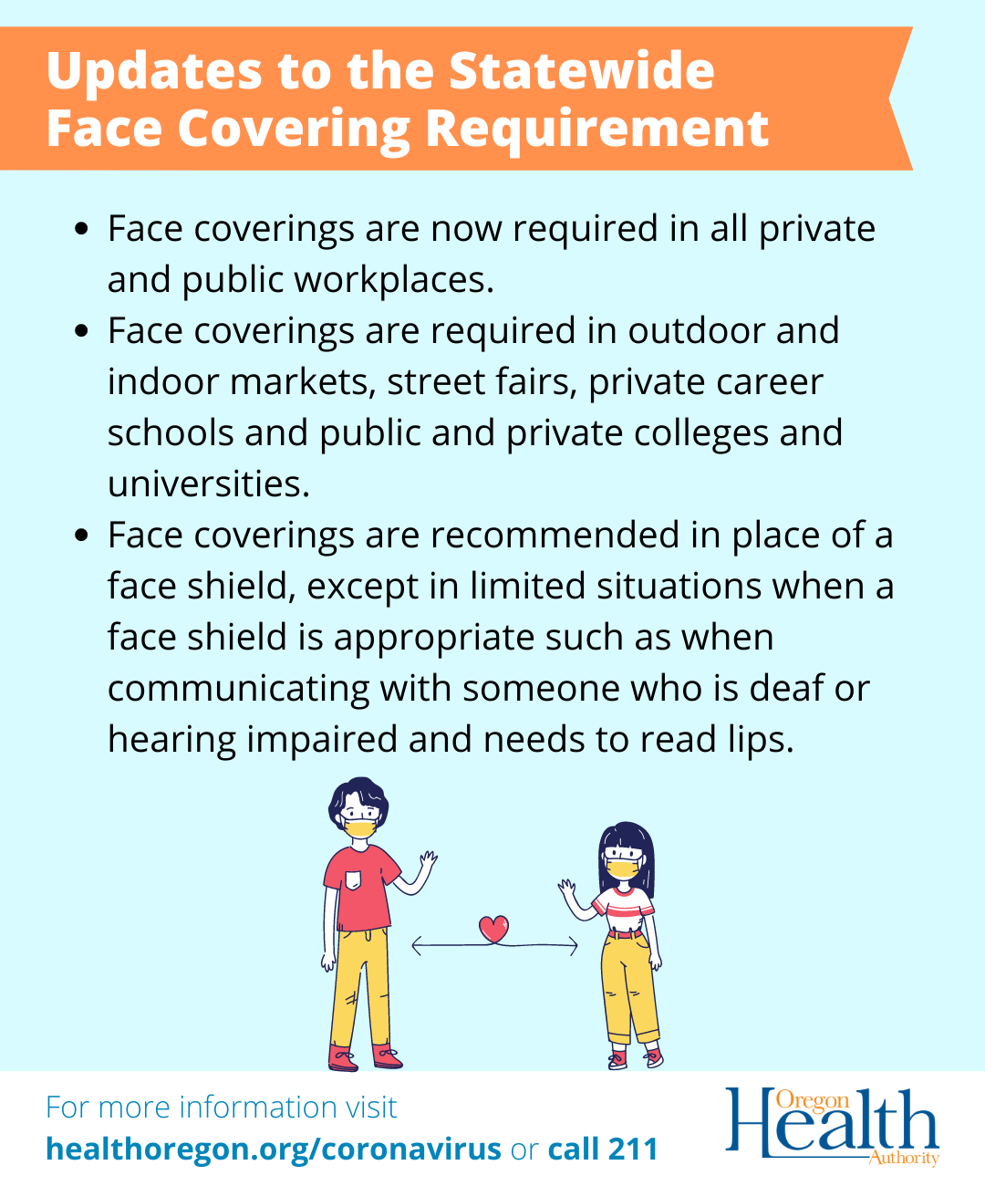 Updates to the Statewide Face Covering Requirement