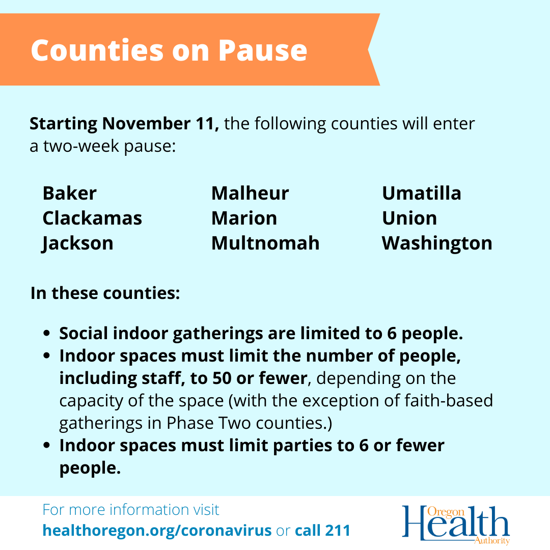 The counties on pause are Baker, Clackamas, Jackson, Malheur, Marion, Multnomah, Umatilla, Union, Washington