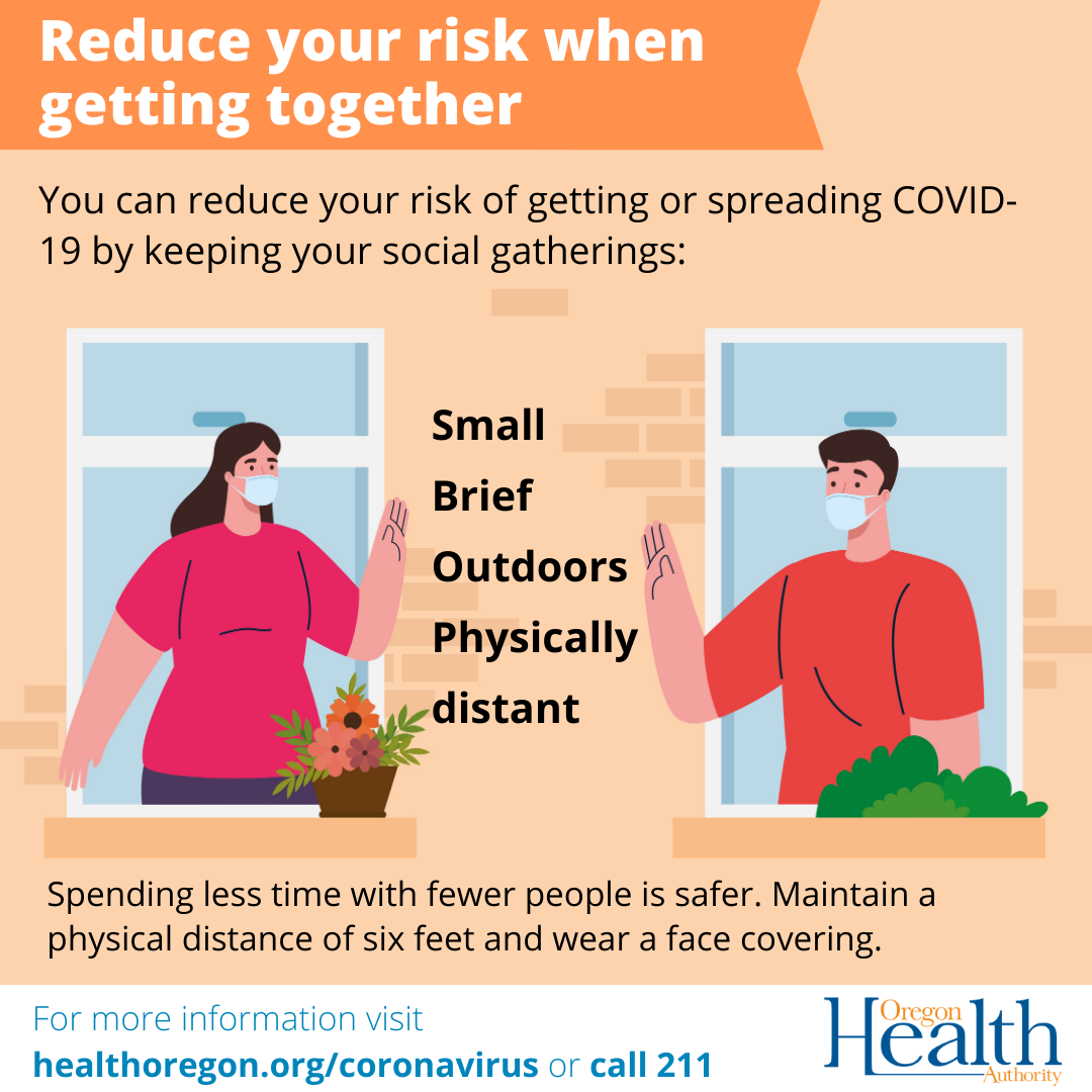 You can reduce your risk of getting or spread COVID-19 by keeping your social gatherings: small, brief, outdoors, physically distant.