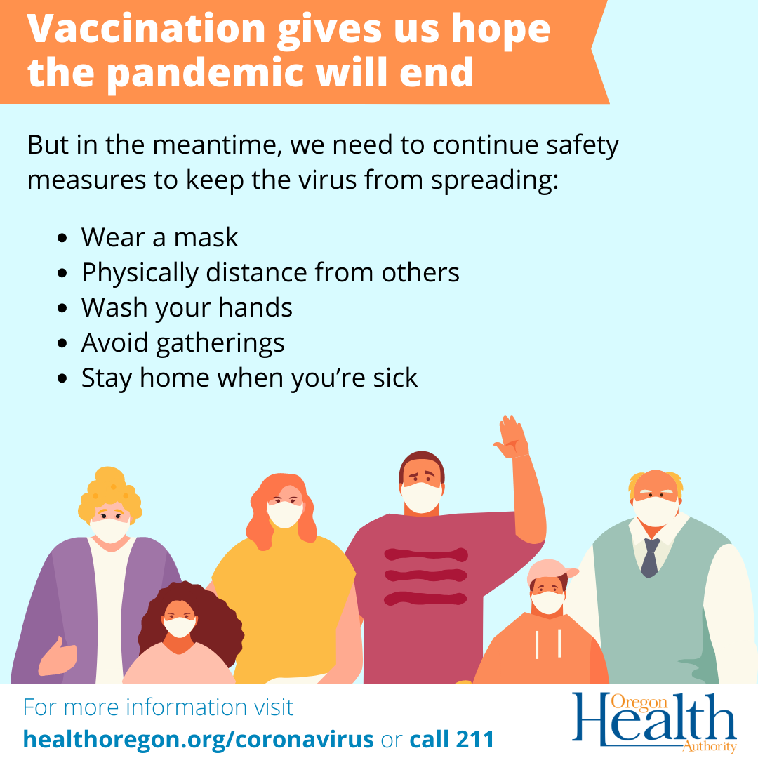 people wearing masks vaccination gives us hope the pandemic will end we need to continue safety measures to keep virus from spreading