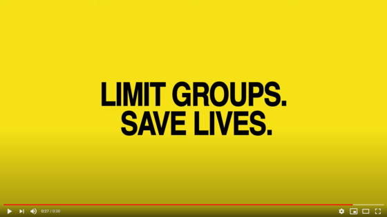 bright yellow video screenshot limit groups save lives in black text