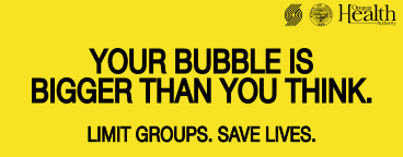 your bubble is bigger than you think. limit groups. save lives. Blazers State of Oregon and OHA logos.