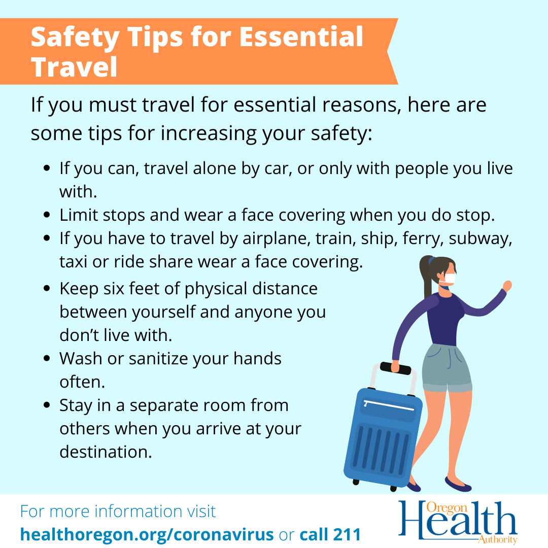 If you can, travel alone by car. Limit stops, stay in separate room. Wear a face covering at stops and on transit. Keep 6 feet distance