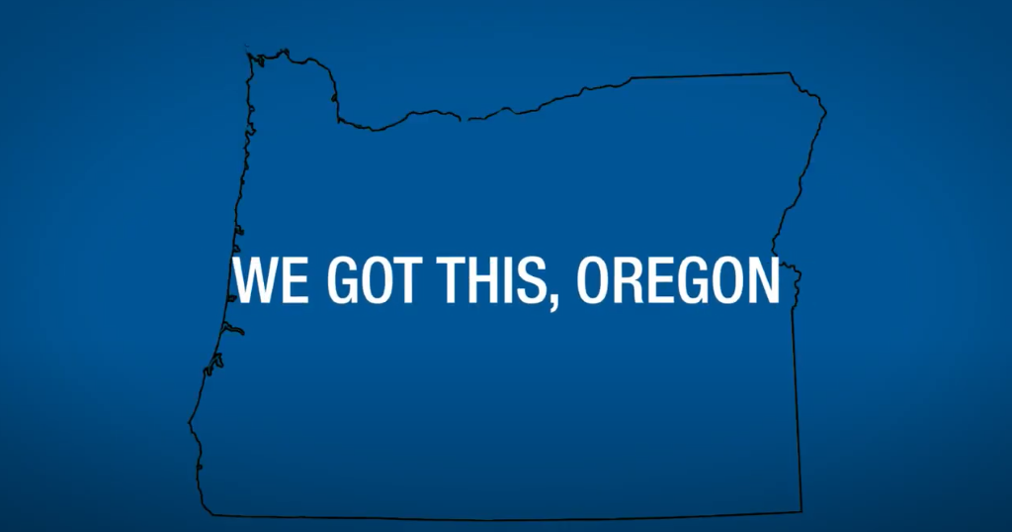 We got this, Oregon on blue video screen with outline of Oregon