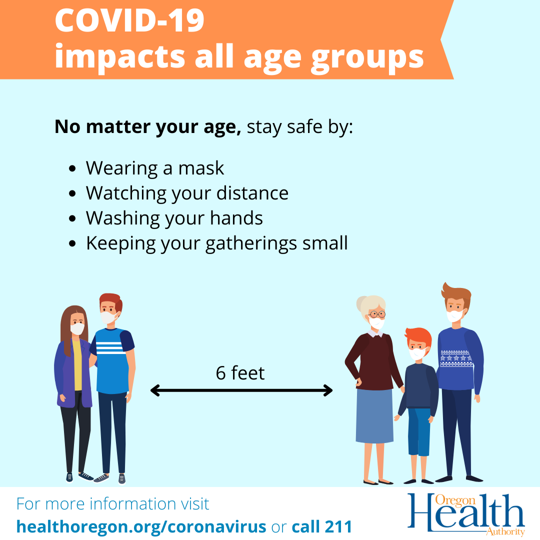 No matter your age, stay safe by wearing a mask, washing hands, watching your distance and keeping your gatherings small.