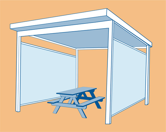 Outdoor structure with two walls facing each other, a roof and a picnic table inside.