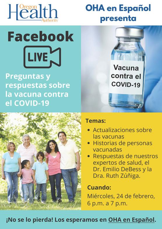 Facebook Live Preguntas y respuestas sobre la vacuna contra el COVID-19. Miércoles, 24 de febrero, 6 pm a 7 pm. Family in woods walking.