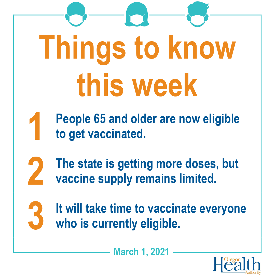 Things to know this week. 65 and older eligible for vaccine. State is getting more doses, supply is limited. It will take time to vaccinate everyone.