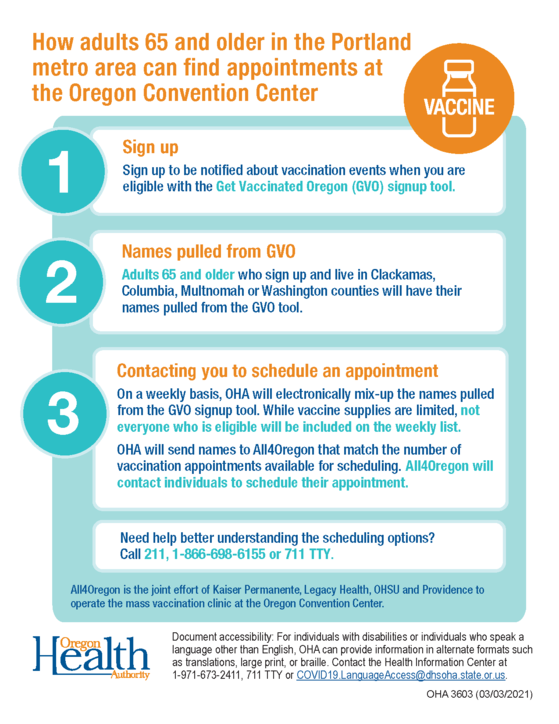 How adults 65 and older in the Portland metro area can find appointments at the Oregon Convention Center