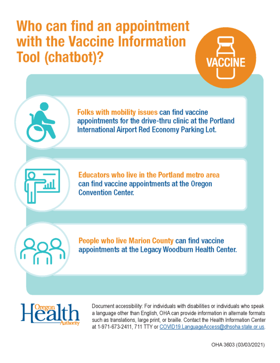 Who can find an appointment with the Vaccine Information Tool (chatbot)