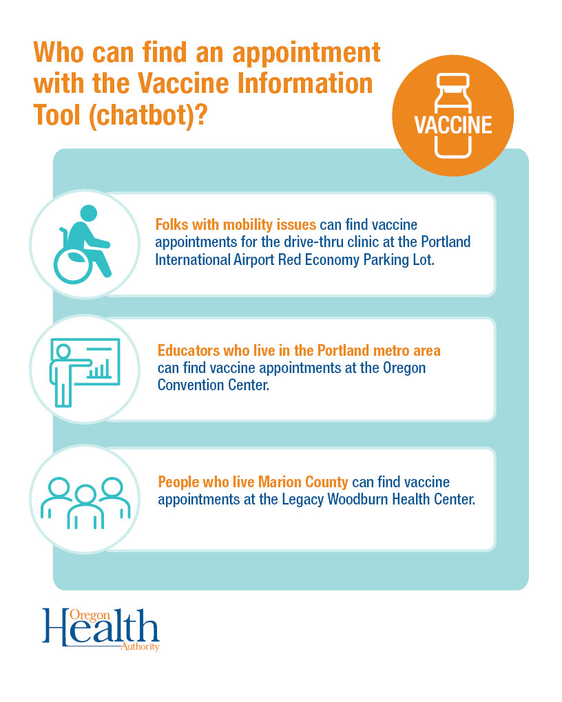 Who can find an appointment with the Vaccine Information Tool (chatbot)?