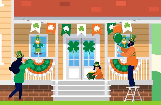 People wearing green and orange out fits and hats decorating house with shamrocks and an elf, child holding a pot of gold.