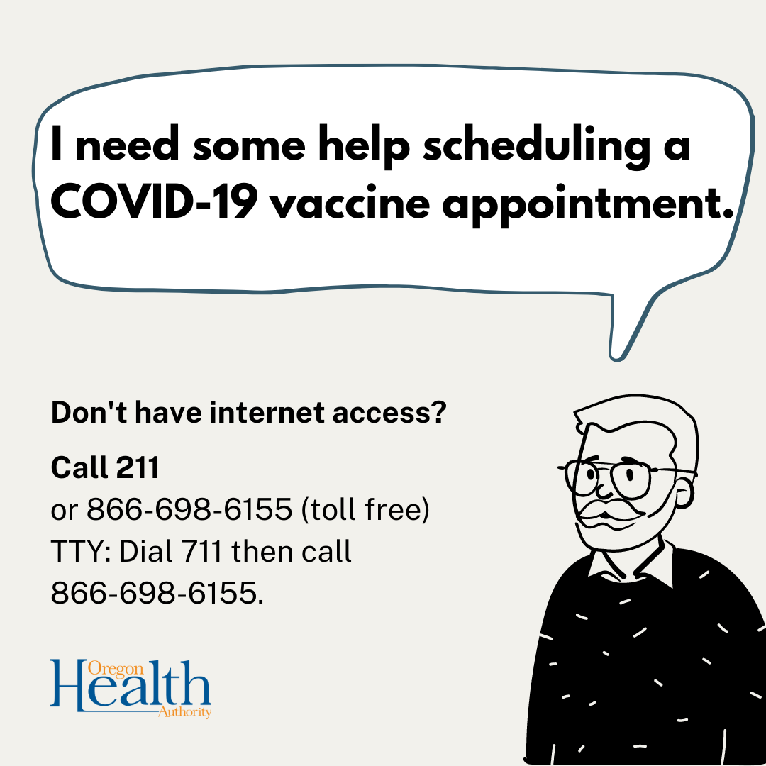 Cartoon man in glasses states need for help with scheduling a vaccine appointment