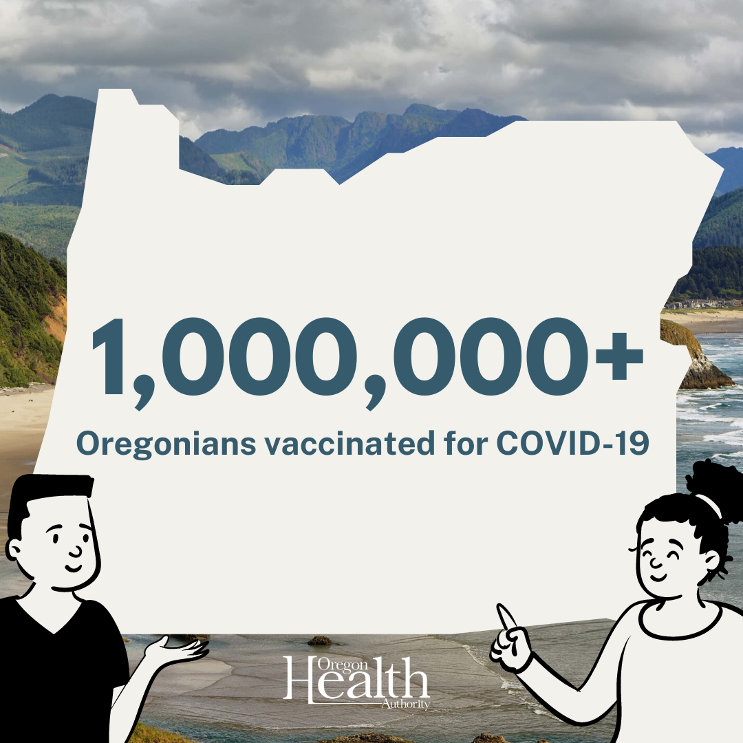 Oregon coast with 2 people holding up and pointing to the shape of Oregon state with 1,000,000+ vaccinated for COVID-19 in it.