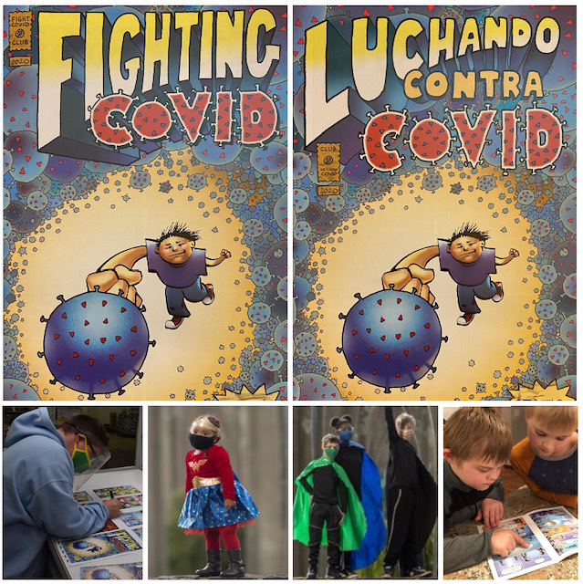Illustration of child fighting the coronavirus and photos of children and adults wearing superhero costumes.