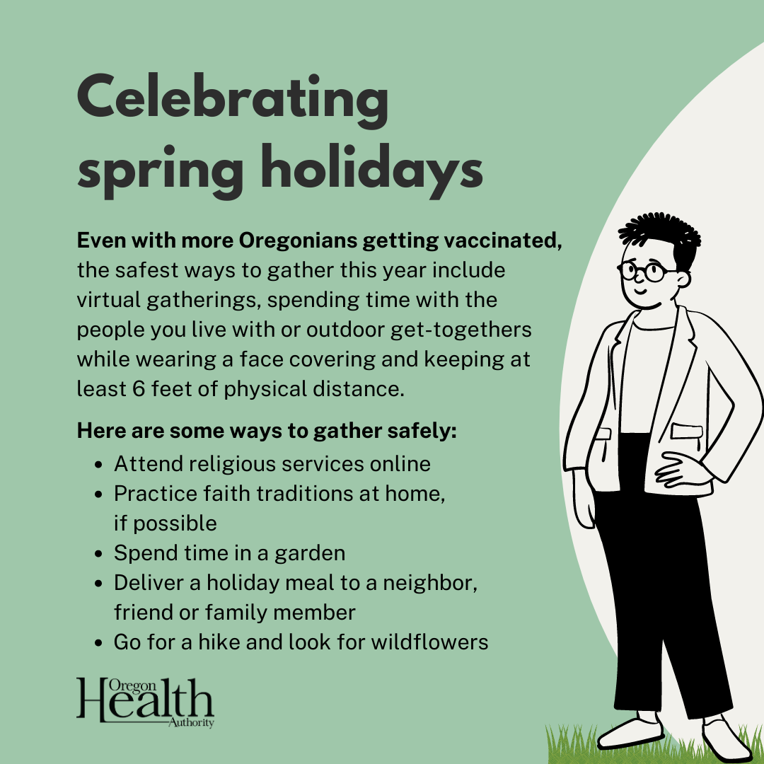 Person poses with social text about spring holidays