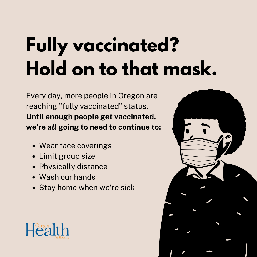 Individual with mask next to public health guidelines