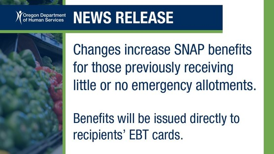 Announcement that more SNAP recipients may get more EA benefits in April.