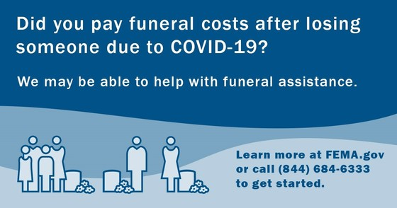 image from FEMA with information about funeral assistance and cartoon figures around tombstones with flowers