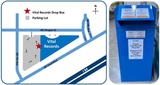 Map of drop box location next to photo of royal blue drop box.