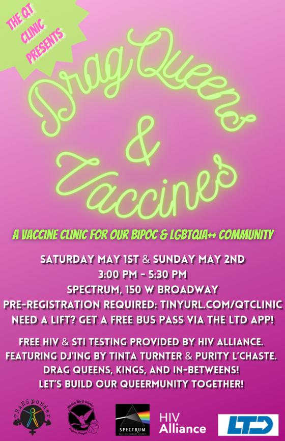 flier advertising drag queen vaccine clinic
