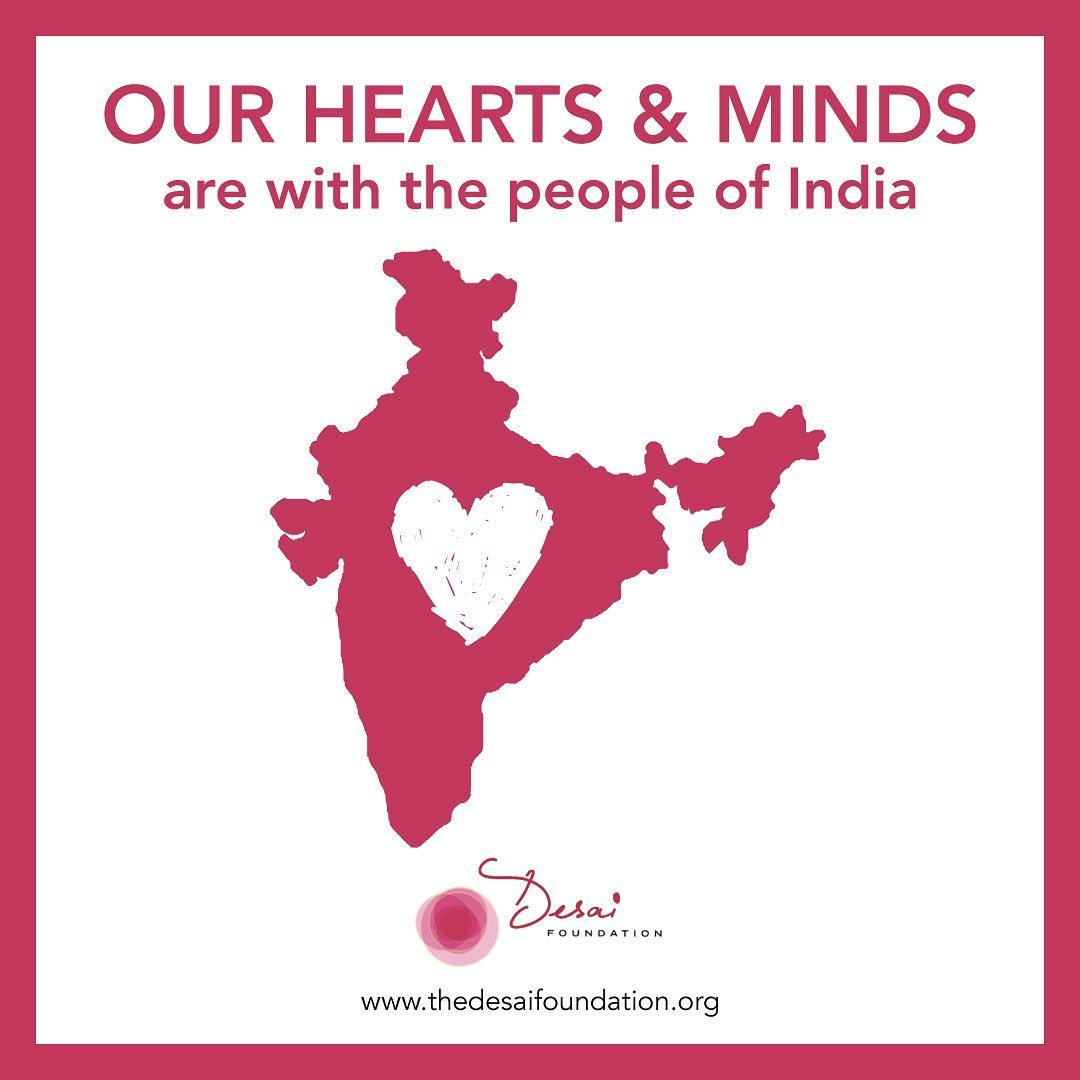"""Image of India with a heart in the middle. """"Our hearts and minds are with the people of India""""."""