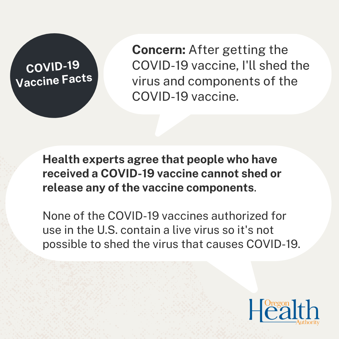 """Circle that say's """"COVID-19 vaccine facts"""" and two speech bubbles with the information from the article."""