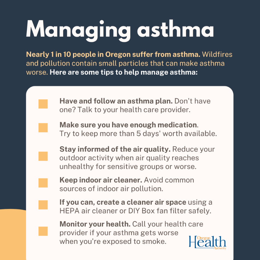 Here are some tips to manage asthma. Click on graphic for CDC list of managing asthma during a wildfire.