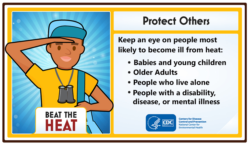 """Illustration of young person wearing cap, holding head above eyes, shoulder strap over arm binoculars around neck. """"Protect others."""""""