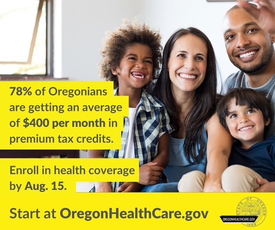 Family of four poses for selfie. 78% of Oregonians are getting an average of $440 a month in premium tax credits.